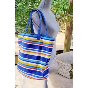 Punctuate Canvas Striped Tote Beach Bag